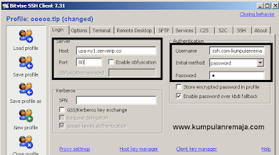 Mengisi Host,Port,Username,Password
