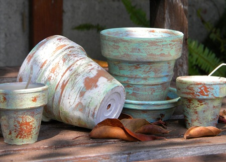 Distressed Painted Clay Pots