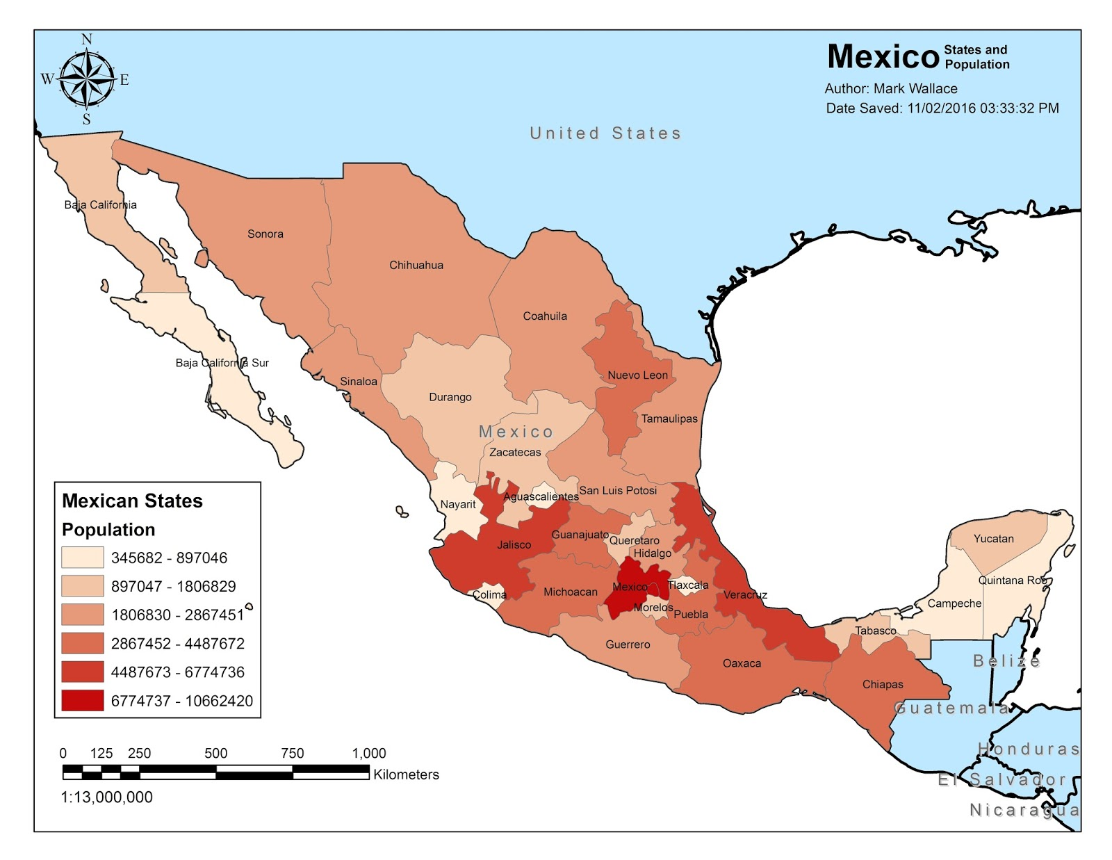 map 1 map of mexico showing mexican states and population data for states a standard compass in the upper left displays the north bearing