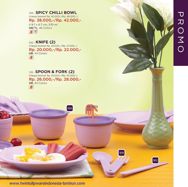 Promo Diskon Tulipware April 2017, Spicy Chilli Bowl, Knife, Spoon & Fork