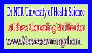 Dr.NTR University of Health Science B.Sc Nursing /BPT/B.Sc MLT 2016 1st Phase Counseling Notification