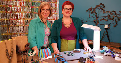 Katie Hacker and Ashley Bunting crafting c/o Beads Baubles & Jewels