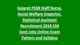 Gujarat PSSB Staff Nurse, Social Welfare Inspector, Statistical Assistant Recruitment 2018 594 Govt Jobs Online-Exam Pattern and Syllabus