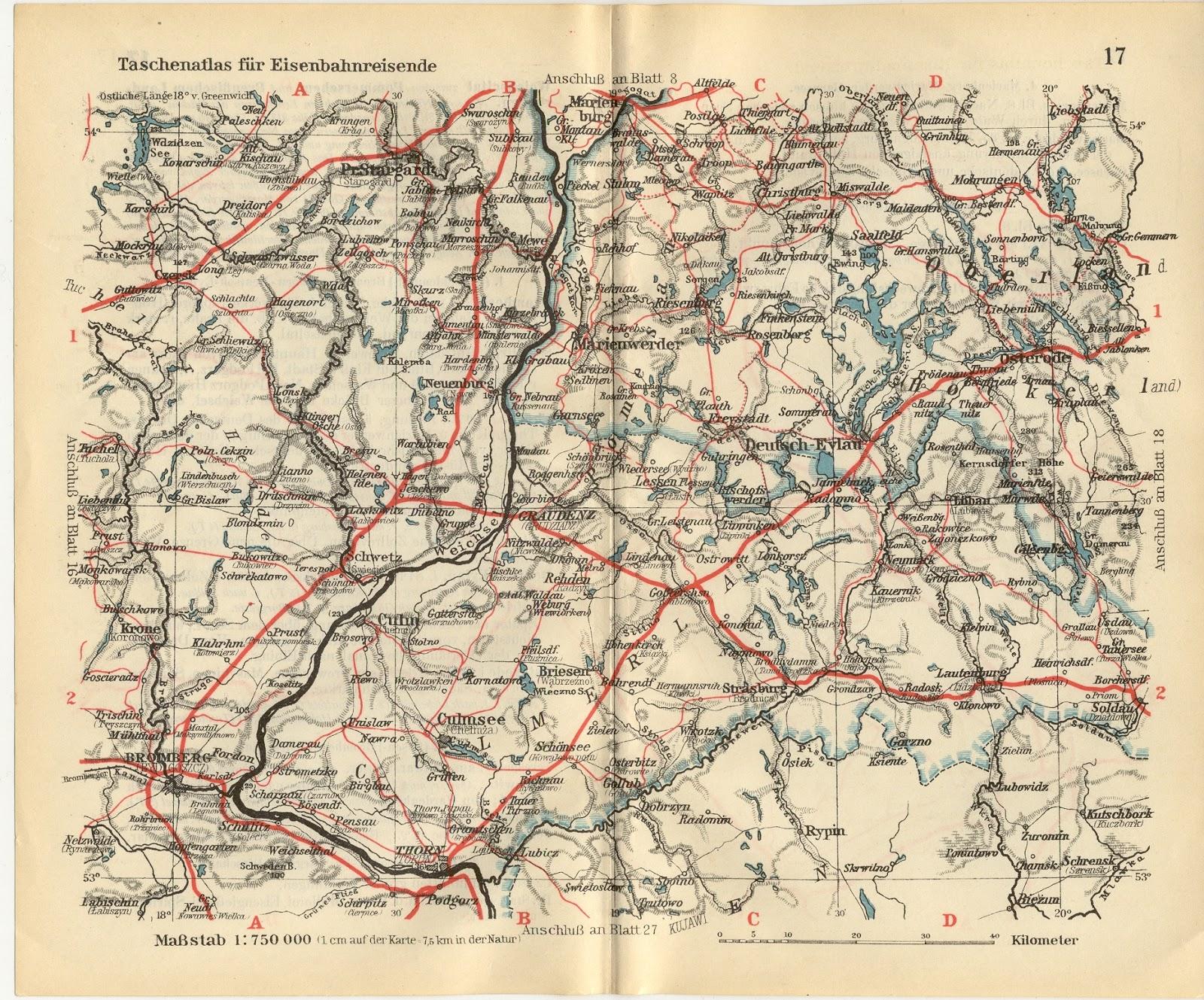 Eisenbahnkarte Culmsee Taschenatlas (pocket atlas) 1925