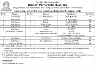 Hindavi Public School Satara Recruitment 2019 Assistant Teacher/Clerk/Peon Jobs