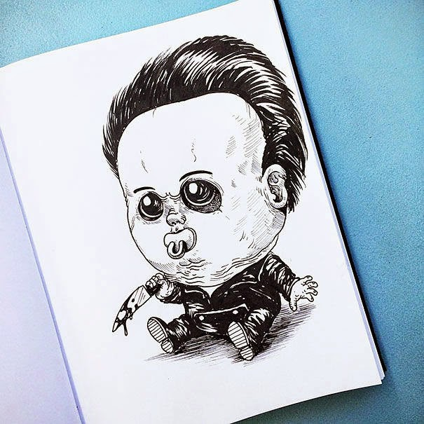 09-Michael-Meyers-Alex-Solis-Baby-Terrors-Drawings-Horror-Movie-Villains-www-designstack-co
