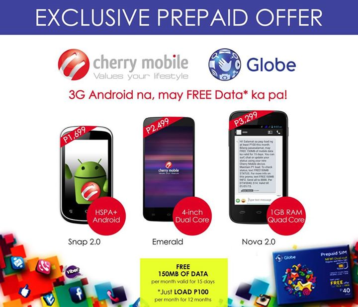 CHerry Mobile and Globe Telecom Exclusive Prepaid Offer