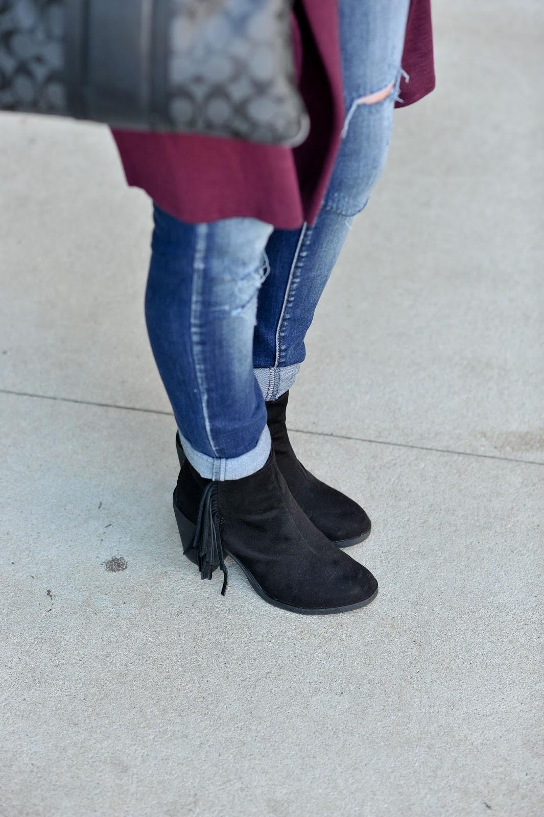 H&M Black Fringe Booties