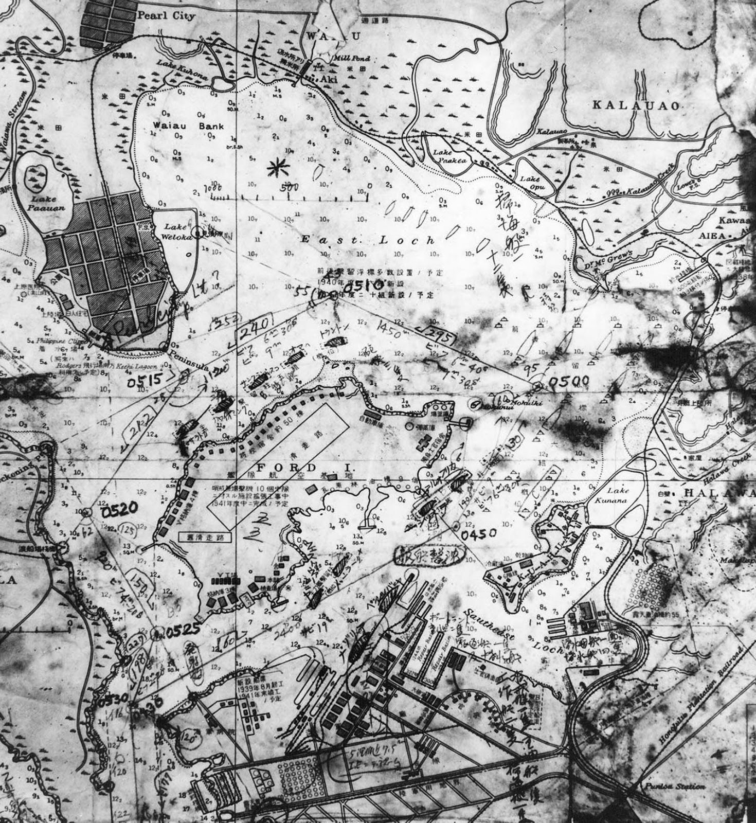 A map of Pearl Harbor recovered from a captured Japanese midget submarine.