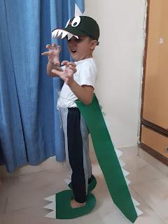 DIY Dinosaur costume, paper dino, easy Dino costume, Dinosaur fan, Dinosaur costume for kids, Quillish, Ishir Dinosaur
