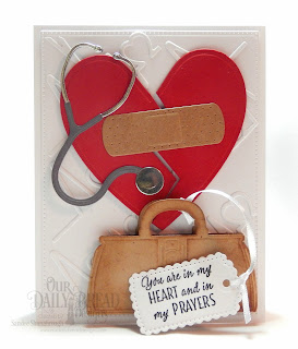 Our Daily Bread Designs Stamp/Die Duos: King of My Heart, Custom Dies: Doctor Bag, Stethoscope, Bandages, A Gift for You, Ornate Hearts, Pierced Rectangles