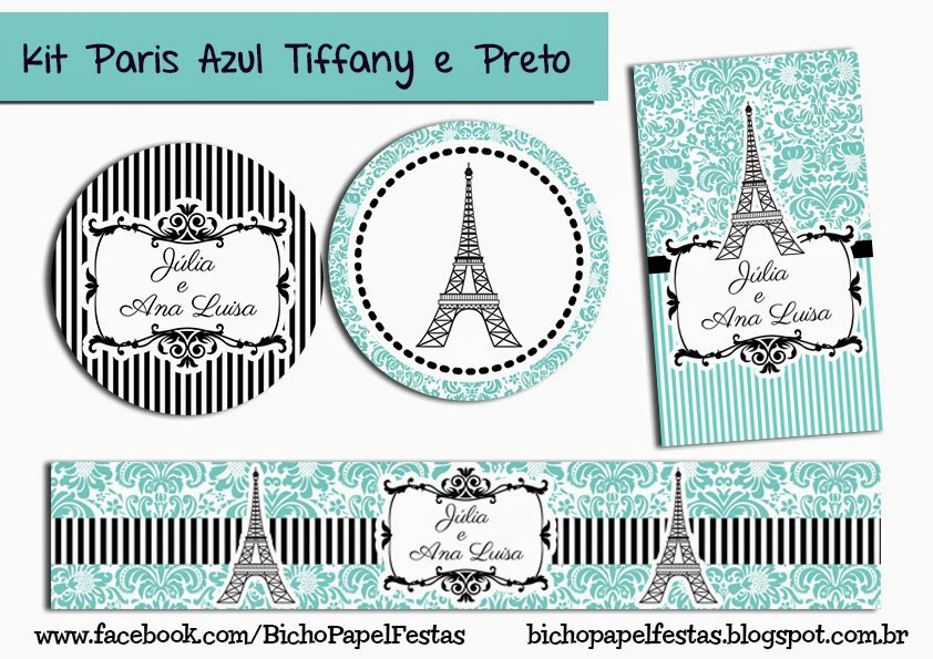 Kit Paris Azul Tiffany e Preto