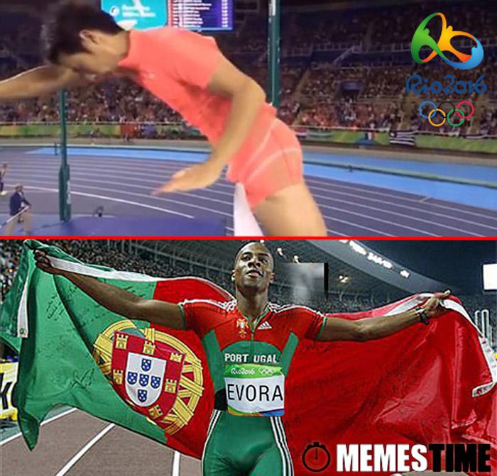 Memes Time Nelson Évora e Ogita Hiroki no Rio 2016 – Percebemos agora que Nelson Évora nunca poderia saltar à Barra…