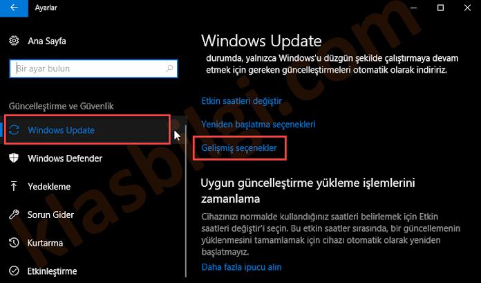 Windows 10 Güncellemeleri Süresiz Duraklatma