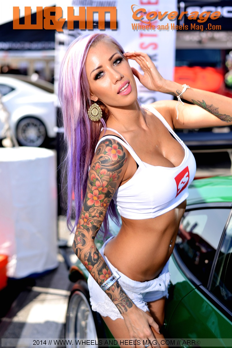 Alicia Whitten model in Super Street Magazine white bra-top uniform at 2014 Formula Drift Irwindale