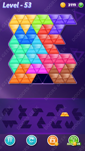 Block! Triangle Puzzle 12 Mania Level 53 Solution, Cheats, Walkthrough for Android, iPhone, iPad and iPod