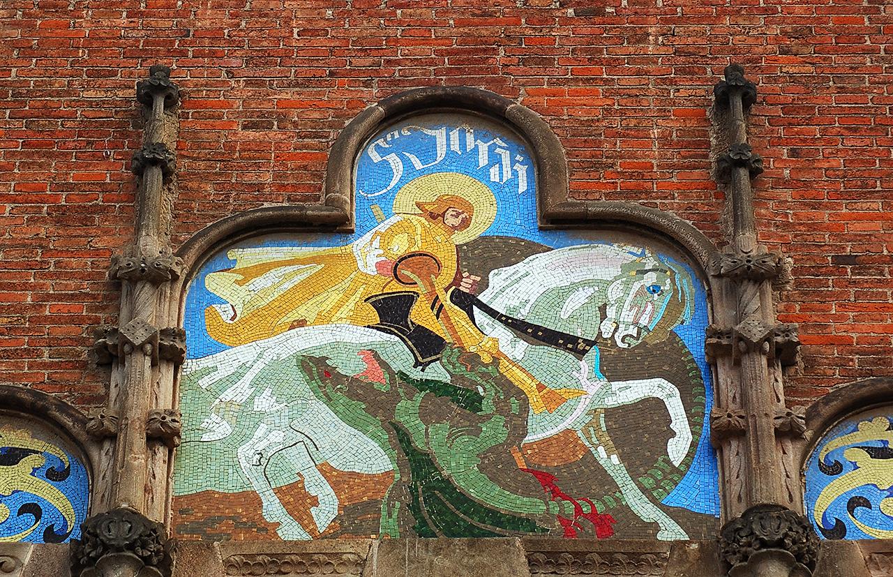 Sant Jordi Killing the Dragon, Mosaic at Hospital de la Santa Creu i Sant Pau Modernista complex, Barcelona