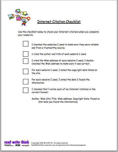 Internet Citation Checklist for Students ~ Educational ...