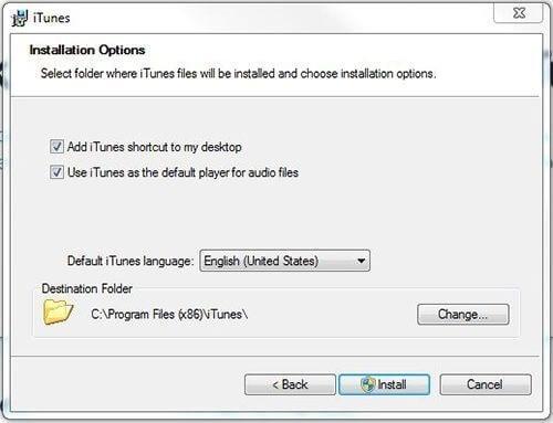 Options Instalasi iTunes di Windows