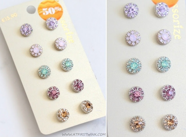 Accessorize pastel, crystal studs
