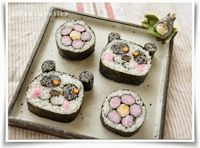 飾り巻き寿司 パンダ 桃の花