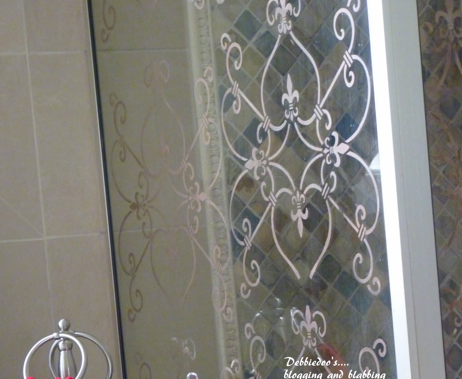 Lovely Stencil on a shower door {DIY} - Debbiedoos FW81