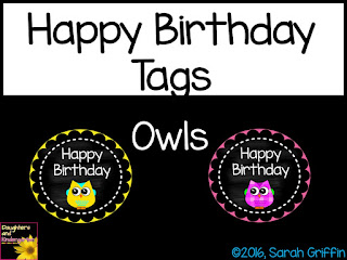 https://www.teacherspayteachers.com/Product/Happy-Birthday-Tags-Owls-2401984