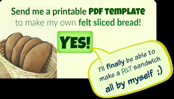 Free printable PDF template for felt bread