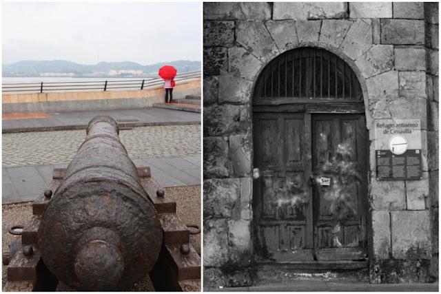 Cañón en Cimadevilla y entrada al refugio túnel de Cimadevilla en Gijón
