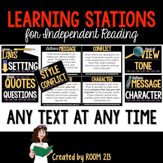 Leaning stations and reader's notebooks are a perfect pair for independent reading in middle and high school.