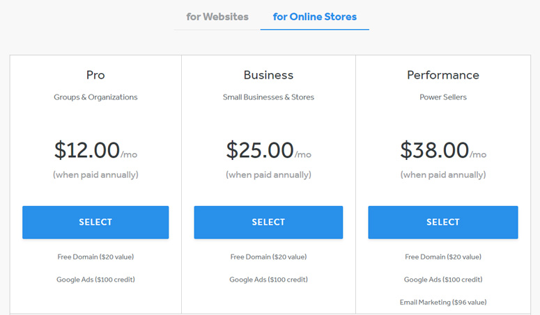Weebly pricing online store