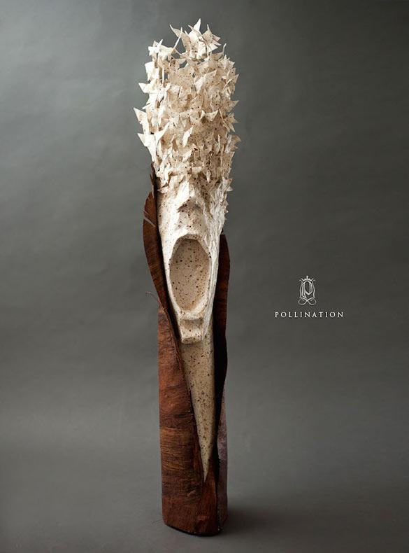 Esculturas de papel inspiradas en la naturaleza representan una colisión de culturas y medios