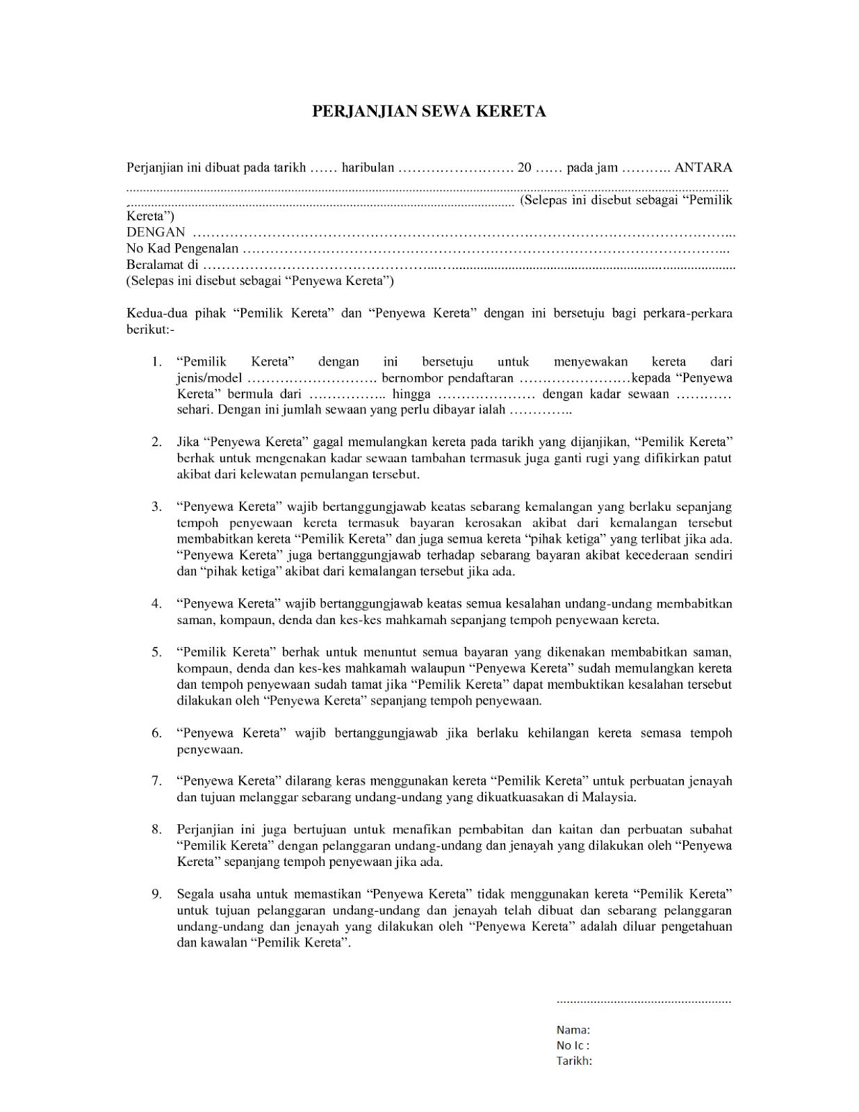 Hot Topik Contoh Surat Perjanjiansewa Kereta