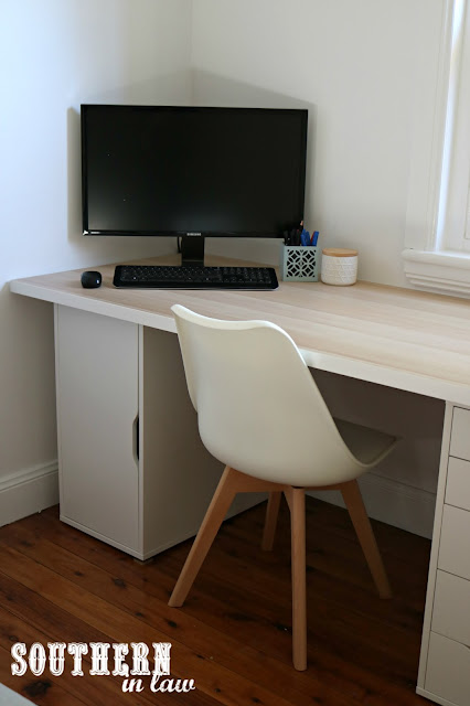 Spare Bedroom to Home Office Makeover on a Budget - Unique Home Office Ideas and How To's - IKEA Linnmon Table Top, Alex Drawers and Replica Eames Chairs