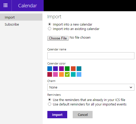 importing into live calendar
