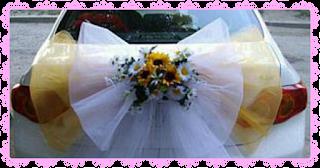 קישוט רכב לחתונה בפרחים אמיתיים