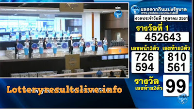 Thailand Lottery Results Today  01 October 2018 Live Online