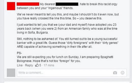 Mamá le responde de manera épica a su hijo racista