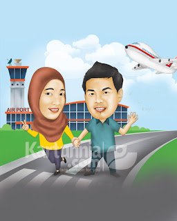 kartun couple background bandara