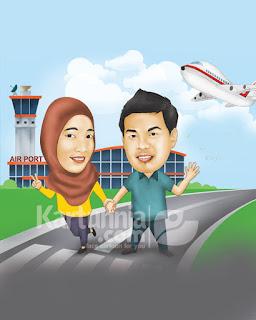 kartun couple background bandara