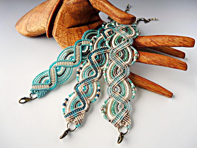 Micro macrame bracelets by Sherri Stokey of Knot Just Macrame.