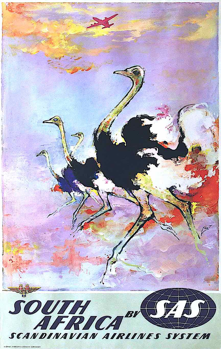 "an Otto Nielsen color poster of running ostriches for ""South Africa by Scandanavian Airlines Systems"""