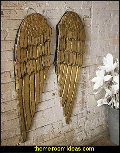 SET OF 2 PAINTED WOODEN ANGEL WINGS  mythology theme bedrooms - greek theme room - roman theme rooms - angelic heavenly realm theme decorating ideas - Greek Mythology Decorations - heavenly wall murals - angel wings decor - angel theme bedrooms