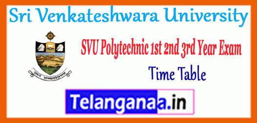 SVU Sri Venkateshwara University Degree Polytechnic 1st 2nd 3rd Year Exam Time Table