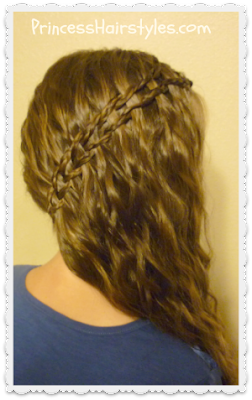 Side swept braided scissor waterfall hairstyle tutorial