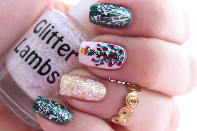 Christmas custom handmade indie lacquer for the holiday season. White Christmas nails.