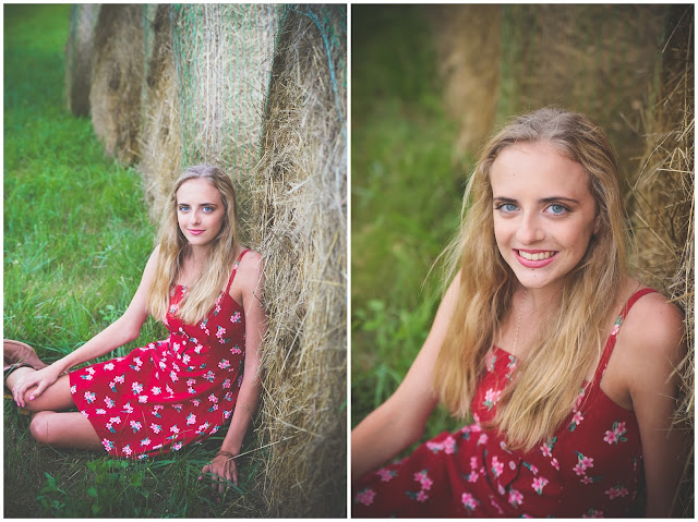 senior photos with hay bales
