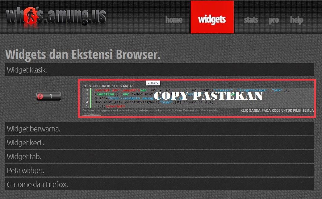 Cara Memasang Widget di Situs Who.Amung.US
