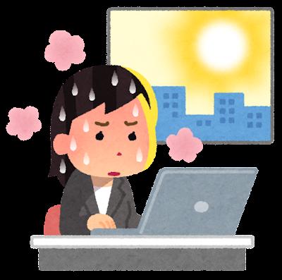 暑い会社で働く人のイラスト(女性)