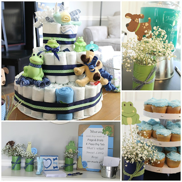 A great theme for a boy's baby shower! Frogs, snails, and puppy dog tails; that's what little boys are made of!